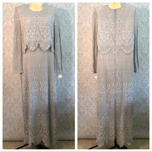 VINTAGE After Dark full length silver lace gown